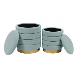 Channel Tufted Light Blue Round Velvet Storage Ottoman Footstool Set of 2
