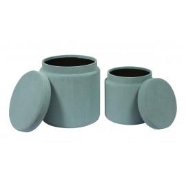 Light Blue Round Velvet Storage Ottoman Footstool Set of 2