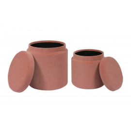 Dusty Pink Round Velvet Storage Ottoman Footstool Set of 2