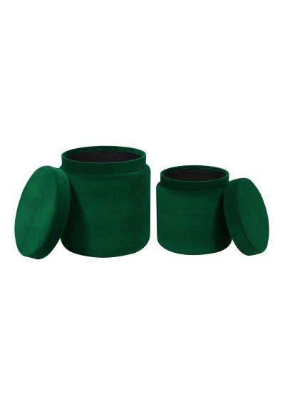 Green Round Velvet Storage Ottoman Footstool Set of 2
