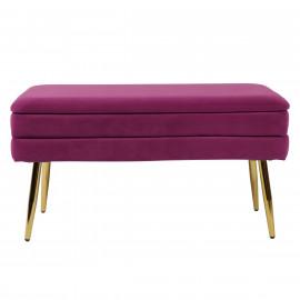 Plum Purple Mid Century Velvet Storage Bench Gold Legs