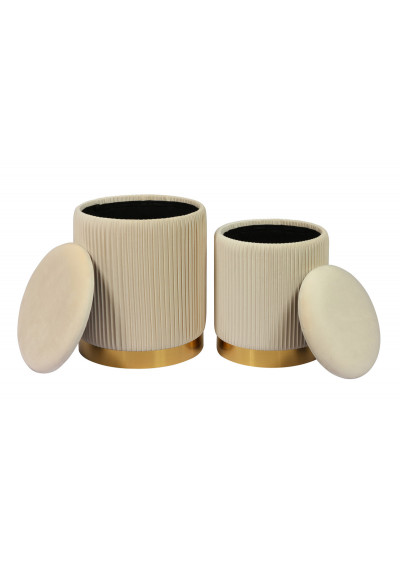Cream Round Pleated Velvet Storage Ottoman Footstool Set of 2