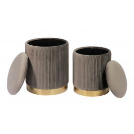 Grey Round Pleated Velvet Storage Ottoman Footstool Set of 2