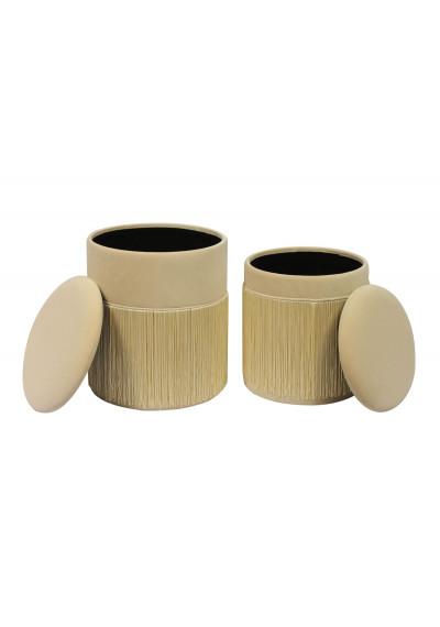 Cream BeigeRound Tassel Velvet Storage Ottoman Footstool Set of 2
