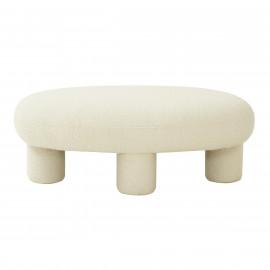 Cream Loopy Yarn Textured Coffee Table Ottoman Footstool Bench