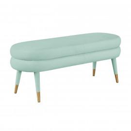 Mint Sea Foam Blue Green Velvet Channel Tufted Bench