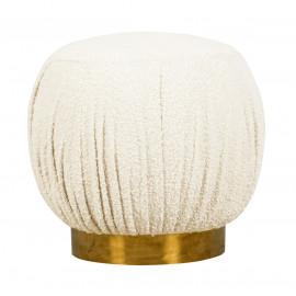 Cream Nubby Fabric Ottoman Footstool Metal Base