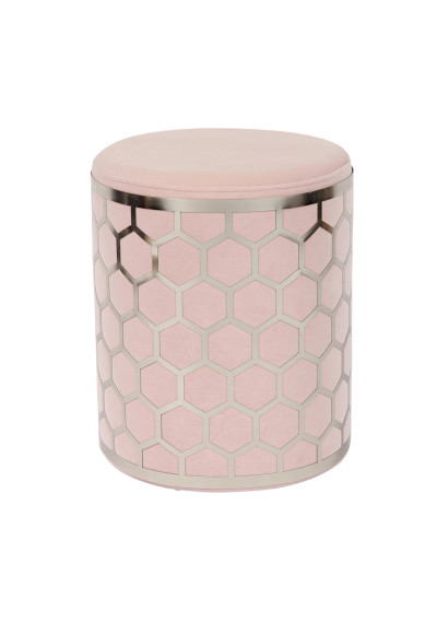 Blush Pink Velvet Round Footstool Ottoman in Silver Metal Ornate Cage