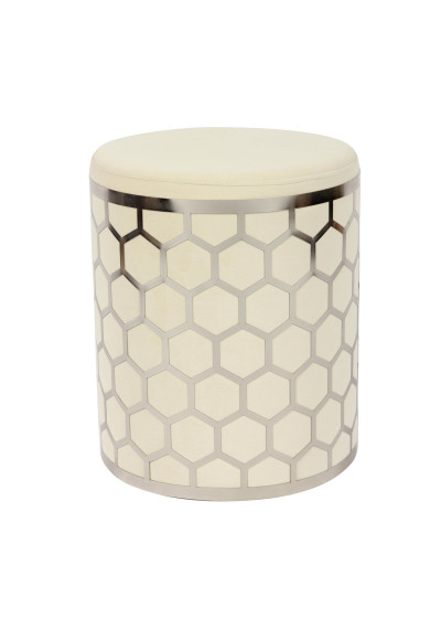 Cream Velvet Round Footstool Ottoman in Silver Metal Ornate Cage