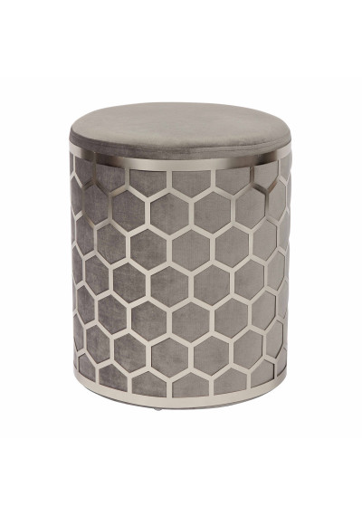 Grey Velvet Round Footstool Ottoman in Silver Metal Ornate Cage