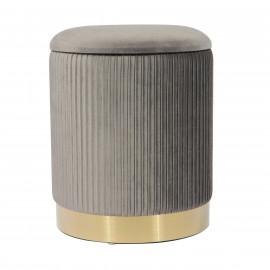 Grey Velvet Pleated Ribbed Round Storage Footstool Ottoman Gold Base