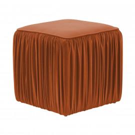 Rust Cognac Velvet Pleated Side Square Ottoman Footstool