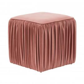 Dusty Pink Mauve Velvet Pleated Side Square Ottoman Footstool