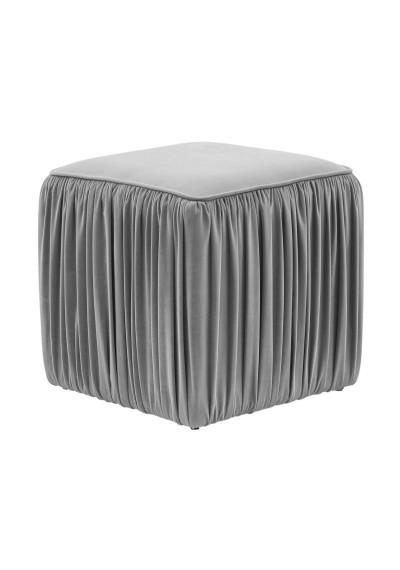 Grey Slate Velvet Pleated Side Square Ottoman Footstool