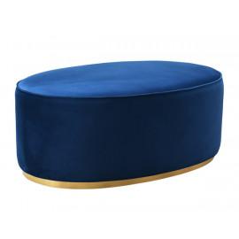 Oval Blue Velvet Ottoman Gold Base