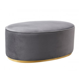Oval Grey Velvet Ottoman Gold Base