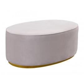Oval Blush Pink Velvet Ottoman Gold Base
