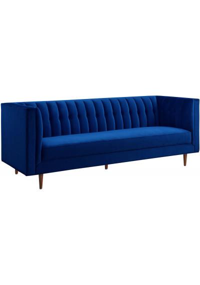 Blue Velvet Channel Tufted Back Seat Sofa