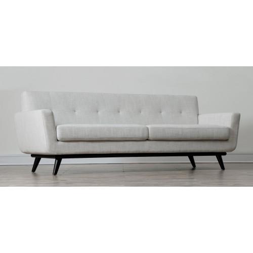 Cream Linen Mid-Century Sofa