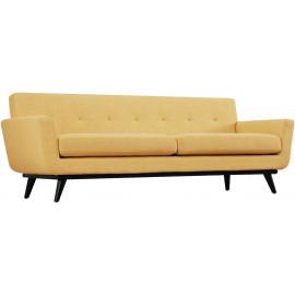 Soft Yellow Linen Mid-Century Sofa