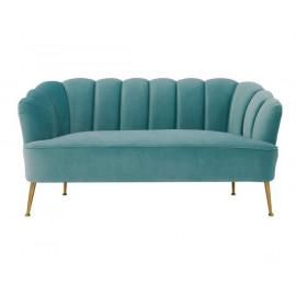 Sea Blue Velvet Petal Channel Tufted Sofa Settee