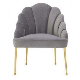 Grey Velvet Petal Channel Tufted Accent Chair
