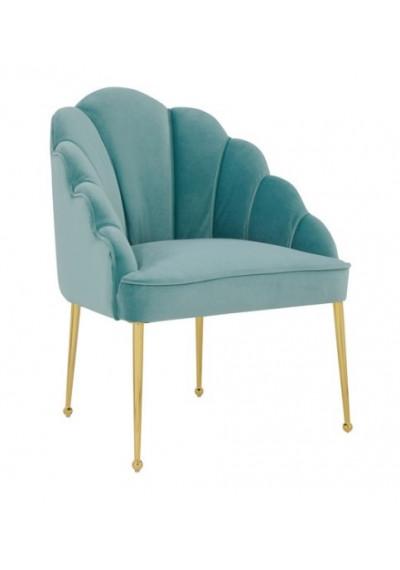 Sea Blue Velvet Petal Channel Tufted Accent Chair