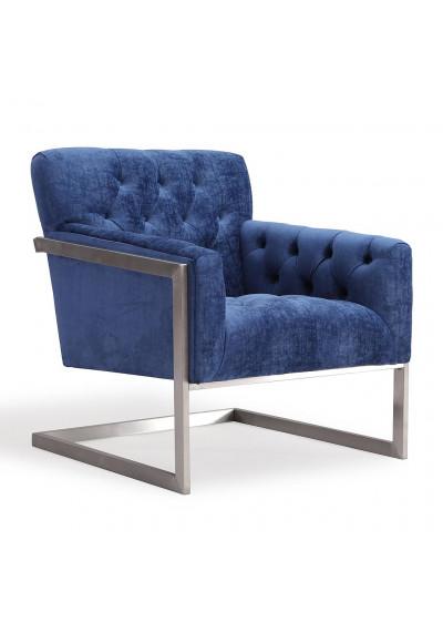 Modern Blue Velvet Brushed Metal Frame Accent Chair