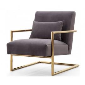 Grey Velvet Arm Chair Gold Frame