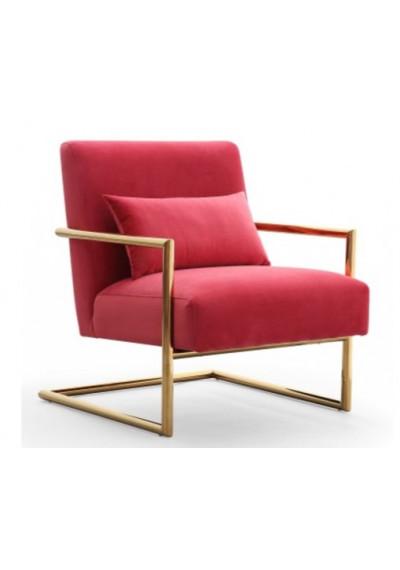 Hot Pink Velvet Arm Chair Gold Frame
