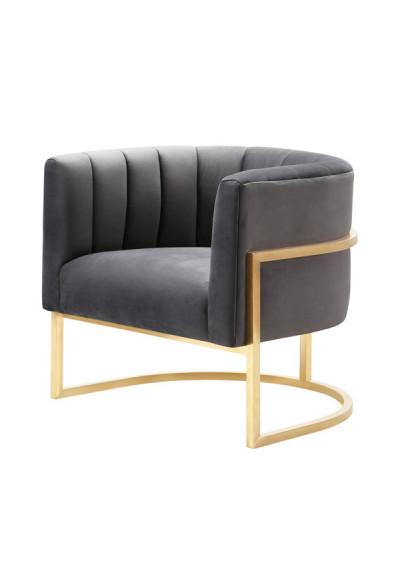 Grey Velvet Contemporary Modern Gold Frame Chair
