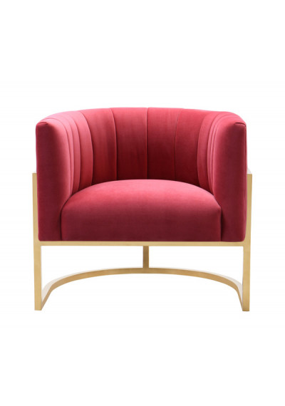 Red Pink Velvet Contemporary Modern Gold Frame Chair