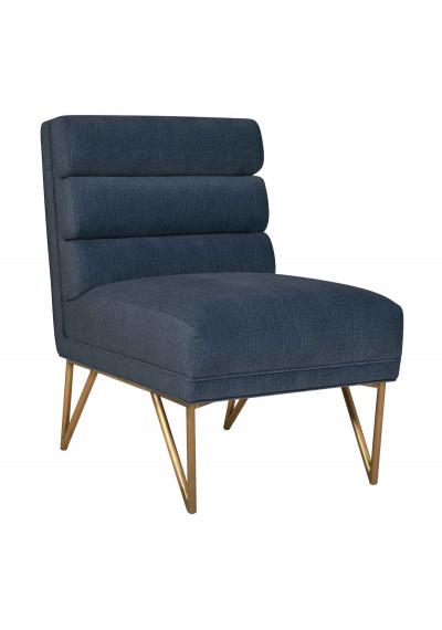 Blue Slub Velvet Channel Tufted Accent Slipper Chair