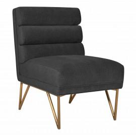 Dark Grey Slub Velvet Channel Tufted Accent Slipper Chair