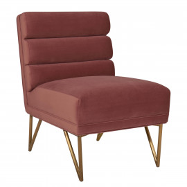Dusty Rose Pink Velvet Channel Tufted Accent Slipper Chair