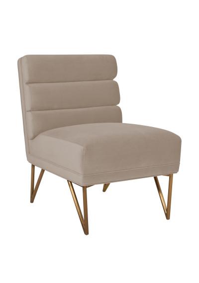 Cream Velvet Channel Tufted Accent Slipper Chair