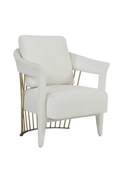 Luscious Cream Velvet Gold Cage Frame Arm Chair
