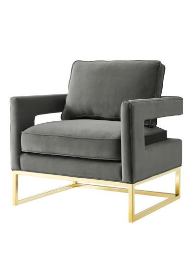 Modern Grey Velvet Gold Legs Lounge Chair