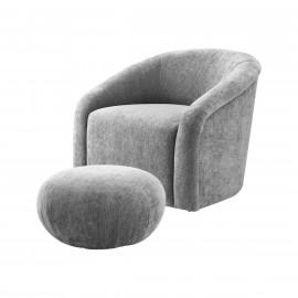 Grey Chenille Barrel Chair & Matching Footstool Ottoman