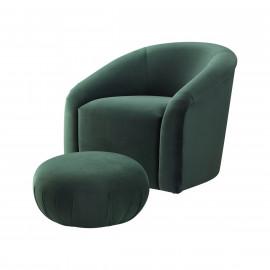 Velvet Forest Green Barrel Chair & Matching Footstool Ottoman