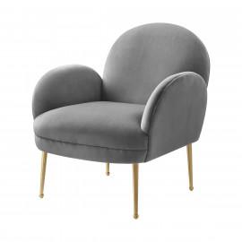 Grey Velvet Gold Pencil Legs Accent Chair