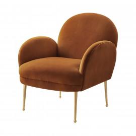 Cognac Caramel Velvet Gold Pencil Legs Accent Chair