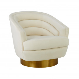 Cream Velvet Piped Stitched Channel Tufted Modern Gold Base Swivel Chair