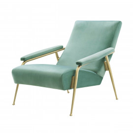 Sea Green Velvet Reclined Accent Chair Brushed Gold Frame
