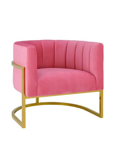 Pink Velvet Contemporary Modern Gold Frame Chair