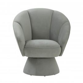 Grey Velvet Channel Tufted Modern Stylish Swivel Chair