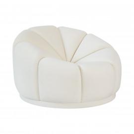 Cream Velvet Puffy Cloud Modern Accent Lounge Chair