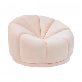Light Peach Velvet Puffy Cloud Modern Accent Lounge Chair