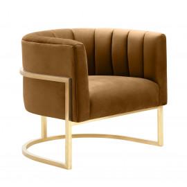 Caramel Velvet Contemporary Modern Gold Frame Chair