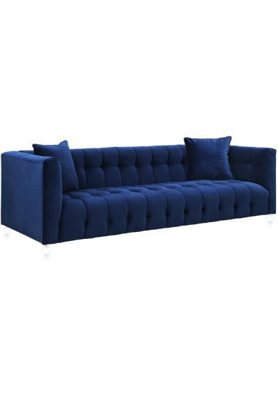 Blue Velvet Button Tufted Sofa Acrylic Legs